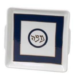 Matzah plate, blue/gold