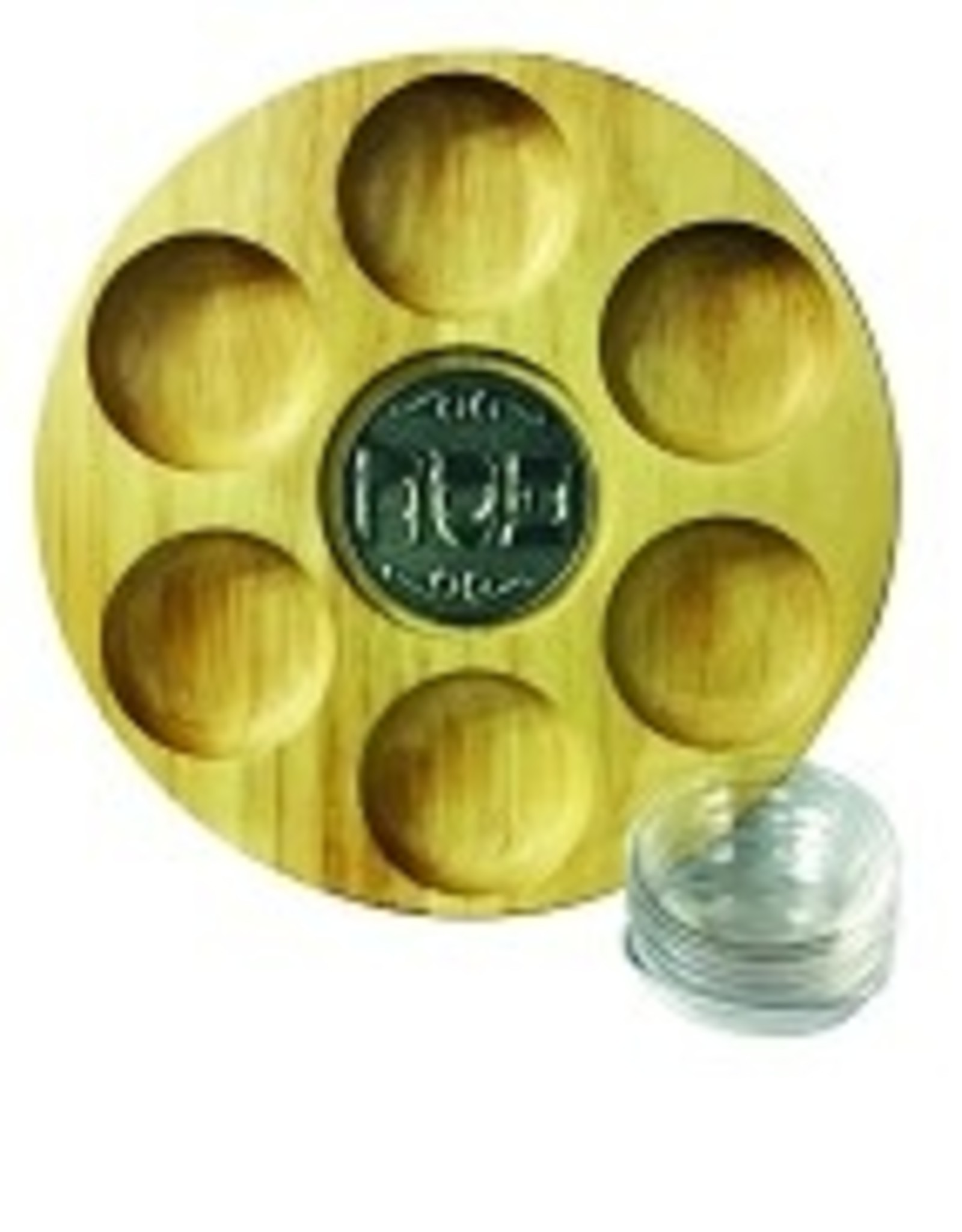 Seder plate, wood w/dishes