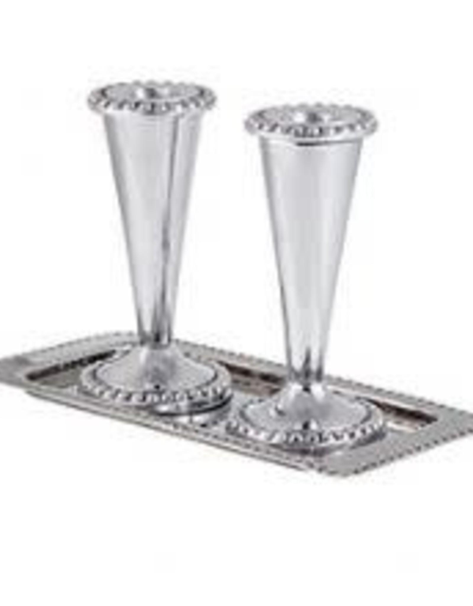 Candlesticks & tray set, 3pc