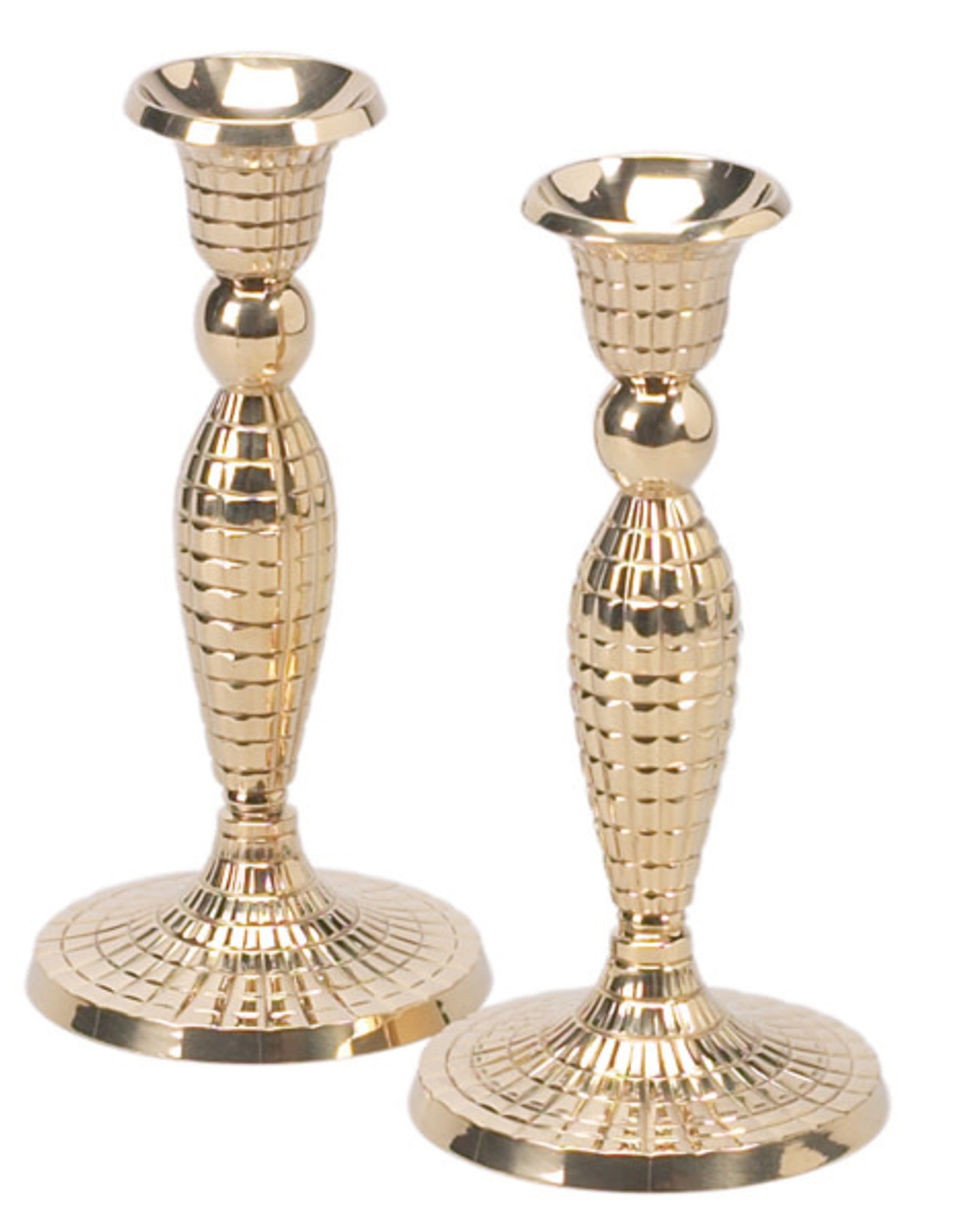 Candle Holders Brass w/Squares/PR
