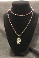 Pendant Hamsa 24'' w/ruby,sapphire,emerald beads