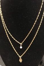 Necklace, 24GP Double Chain w/Hamsa and Pearl