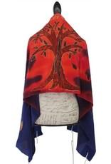 Tallit, Tree of Life, silk, Red/Blue w/bag