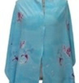Tallit, Turquoise Butterfly silk w/bag