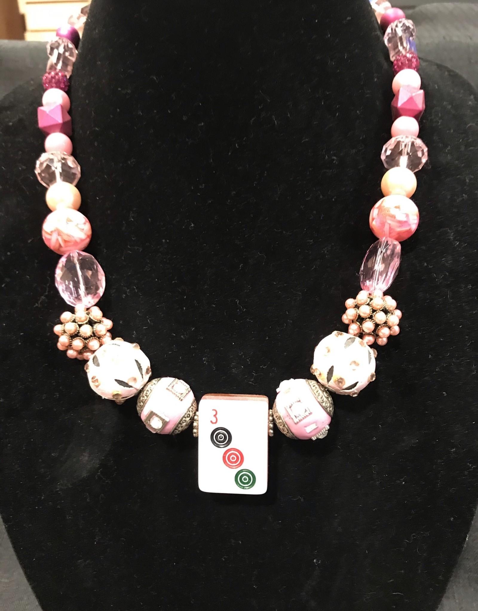 Necklace, Mahjong - pink