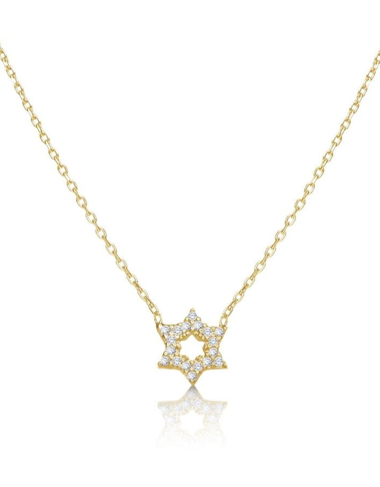 Pendant, gold star w/cz