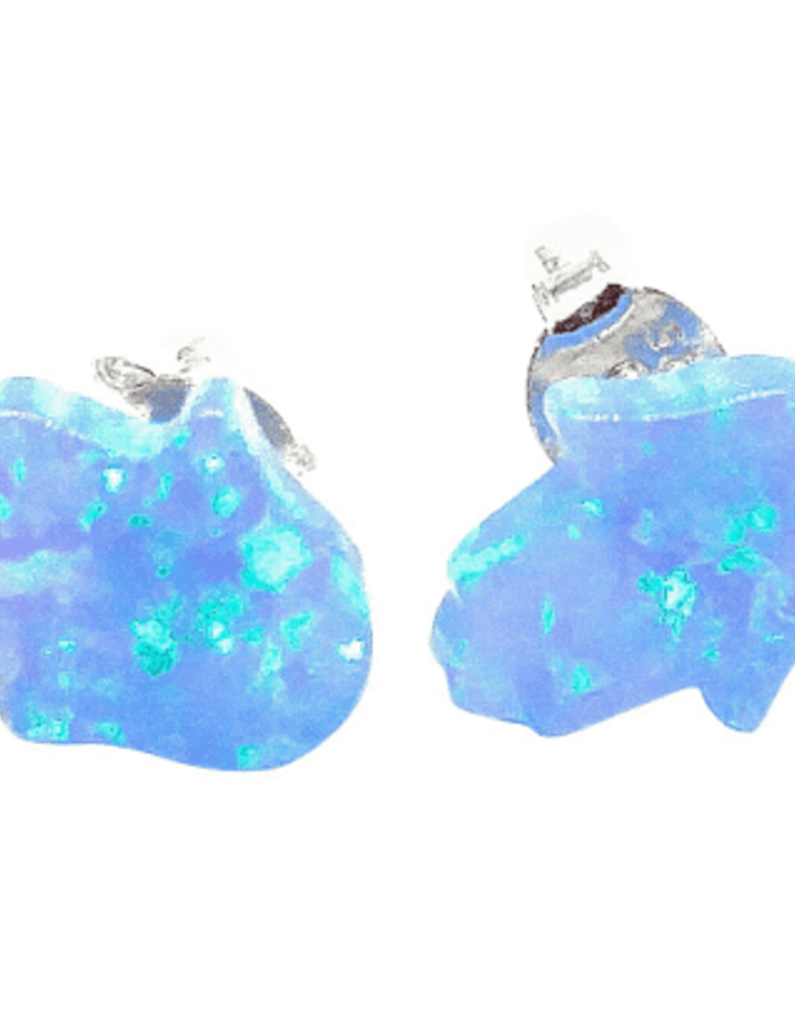Earrings, mini opal hamsa