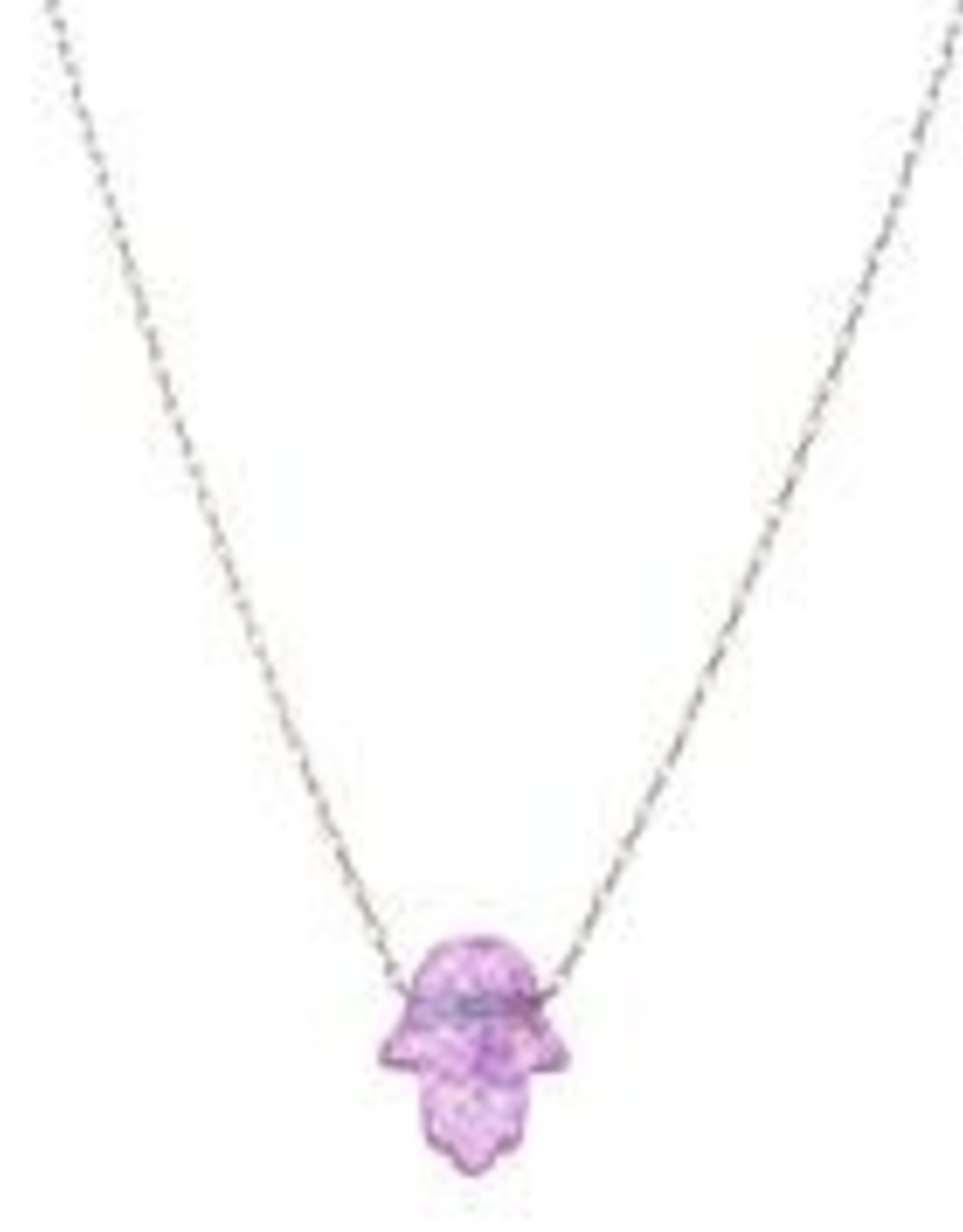 Necklace, Pink Opal Hamsa