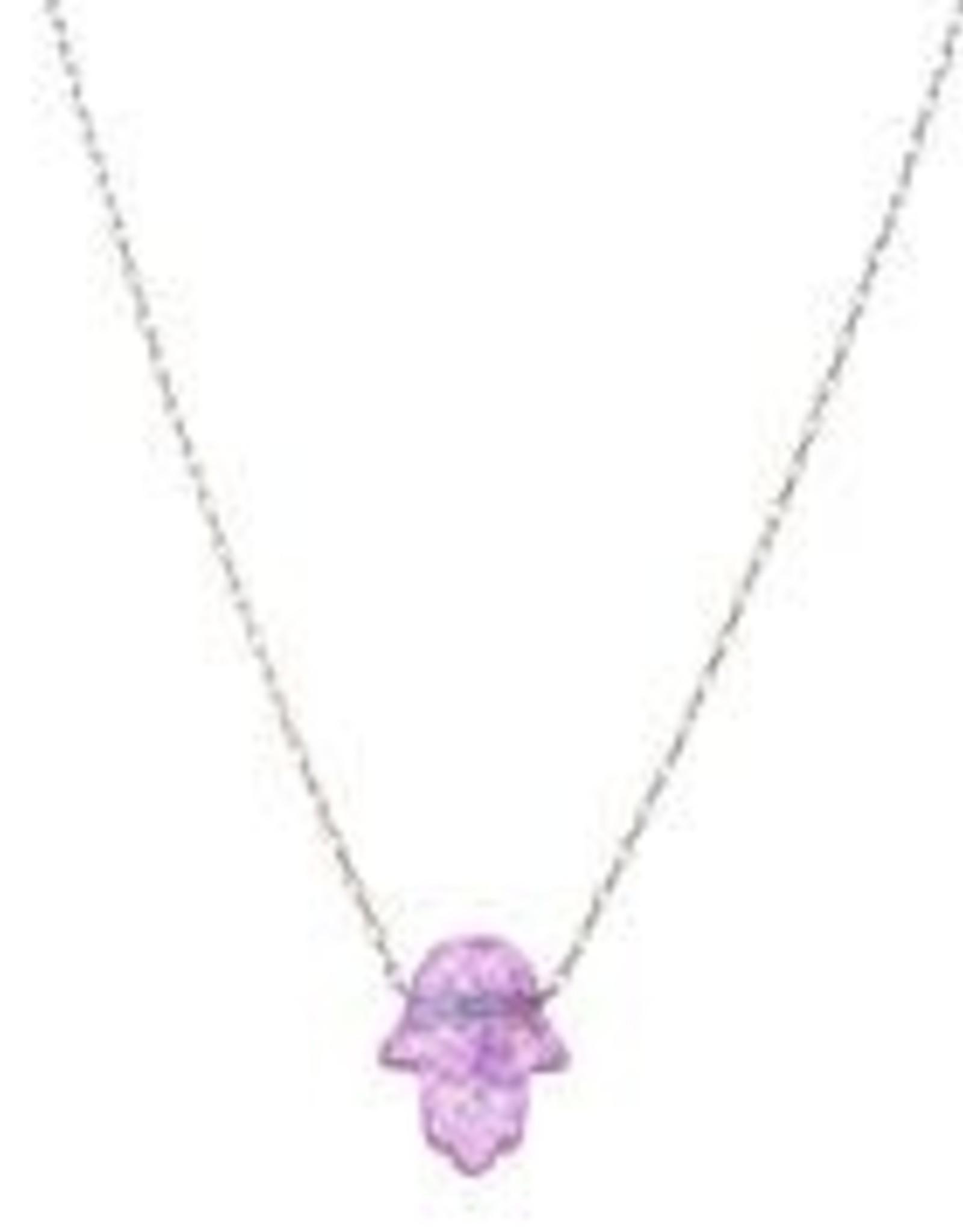 Pink Opal Hamsa Necklace
