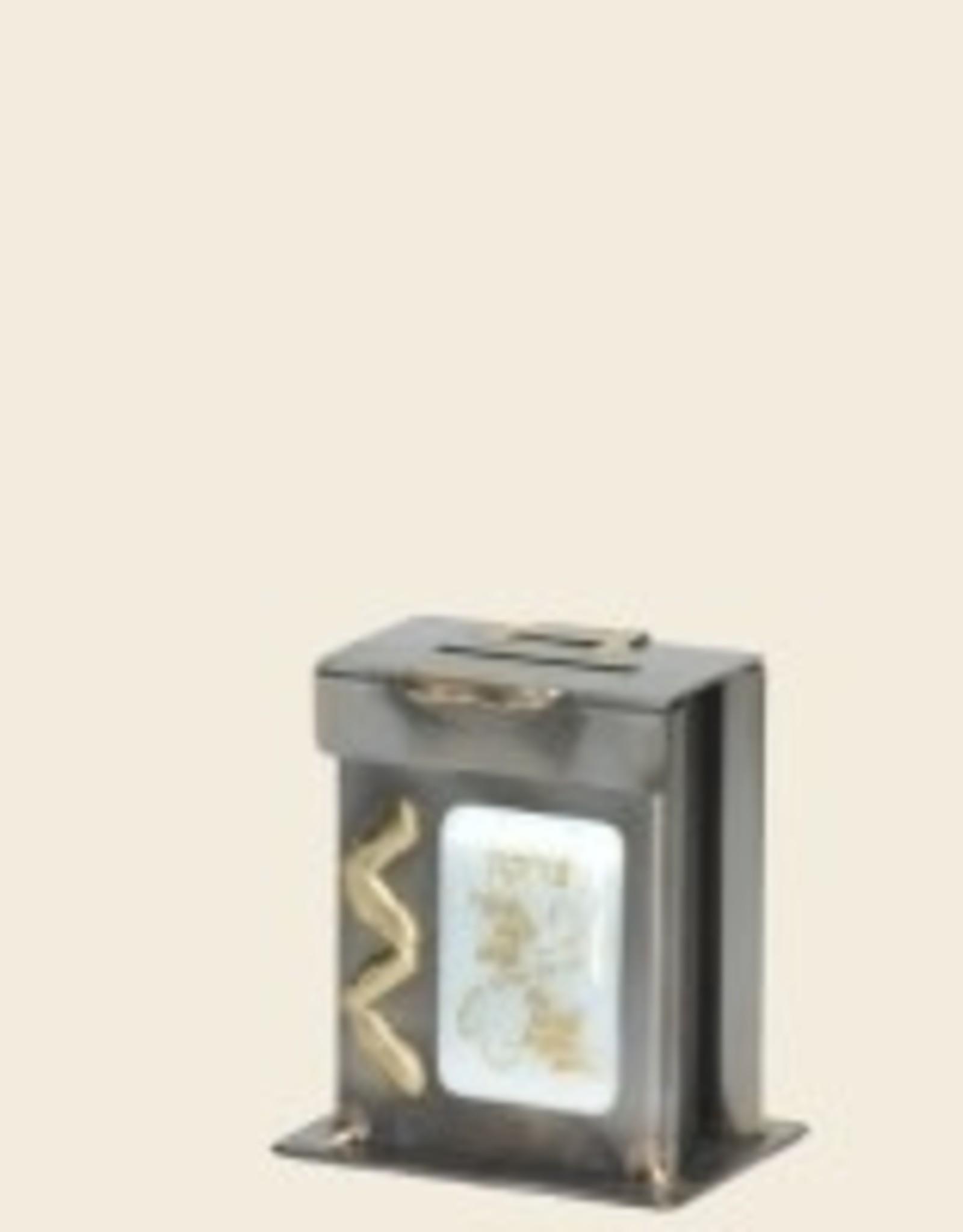 Tzedakah box,  child's white, Gary Rosenthal