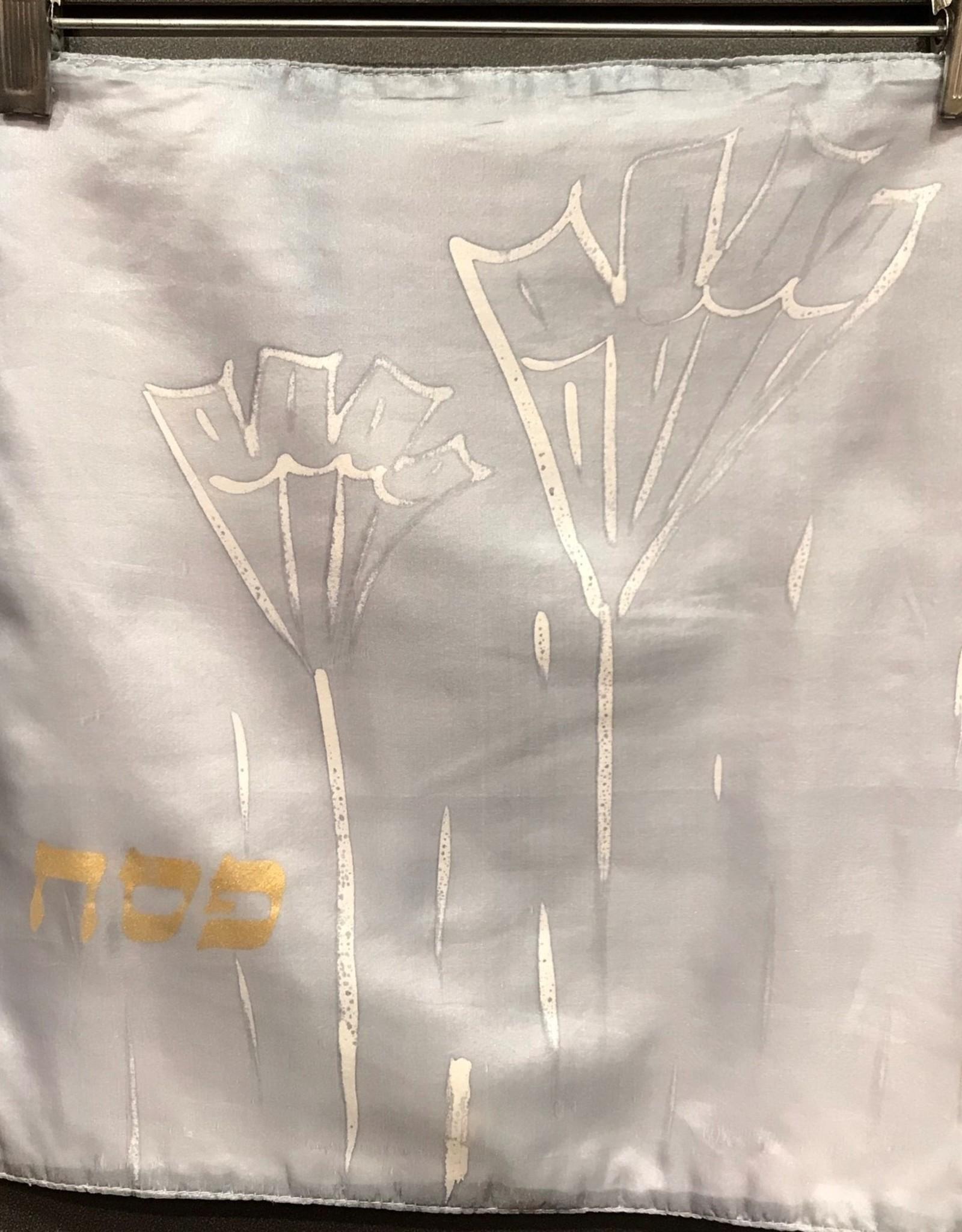 Matzah cover, grey silk