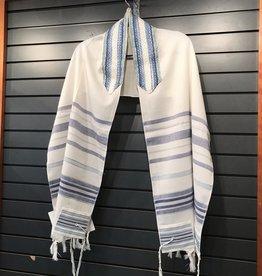 Tallit - wool blue stripe 18''