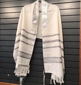 "Tallit - wool grey stripe 24"""