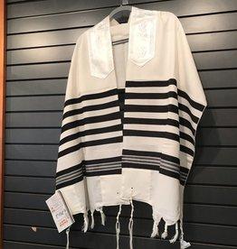 Tallit, wool black/silver 18''