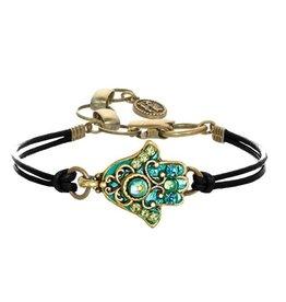 Bracelet, Hamsa w/green crystals