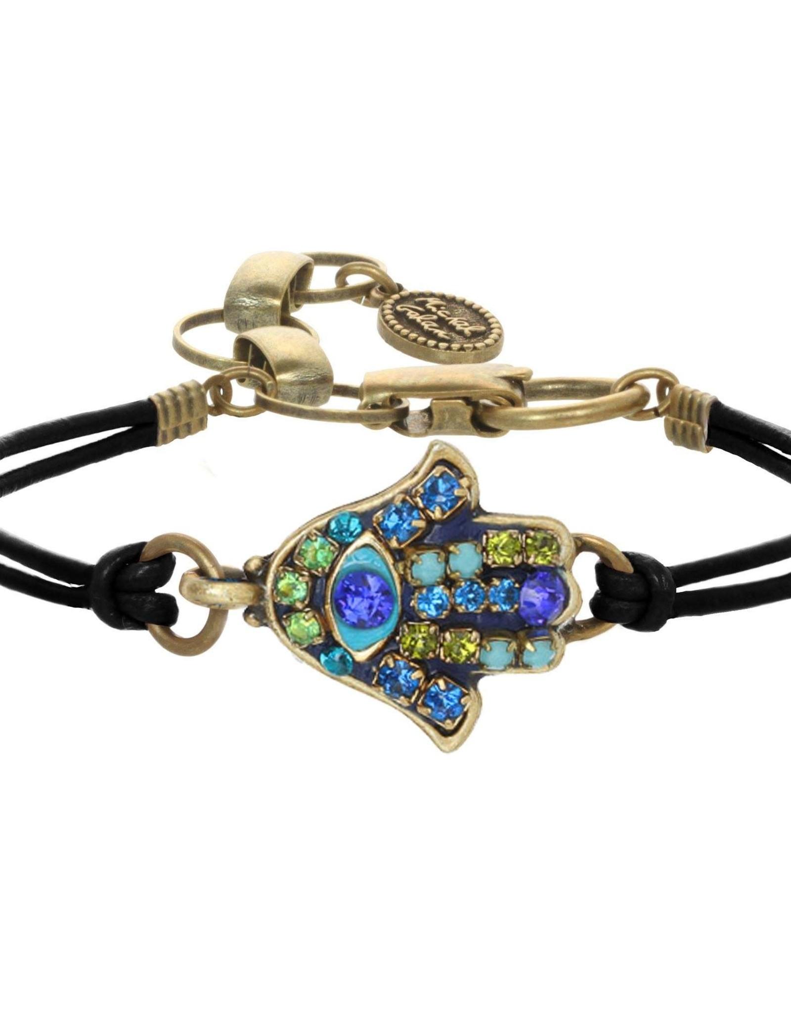 Bracelet, Hamsa w/blue & green crystals