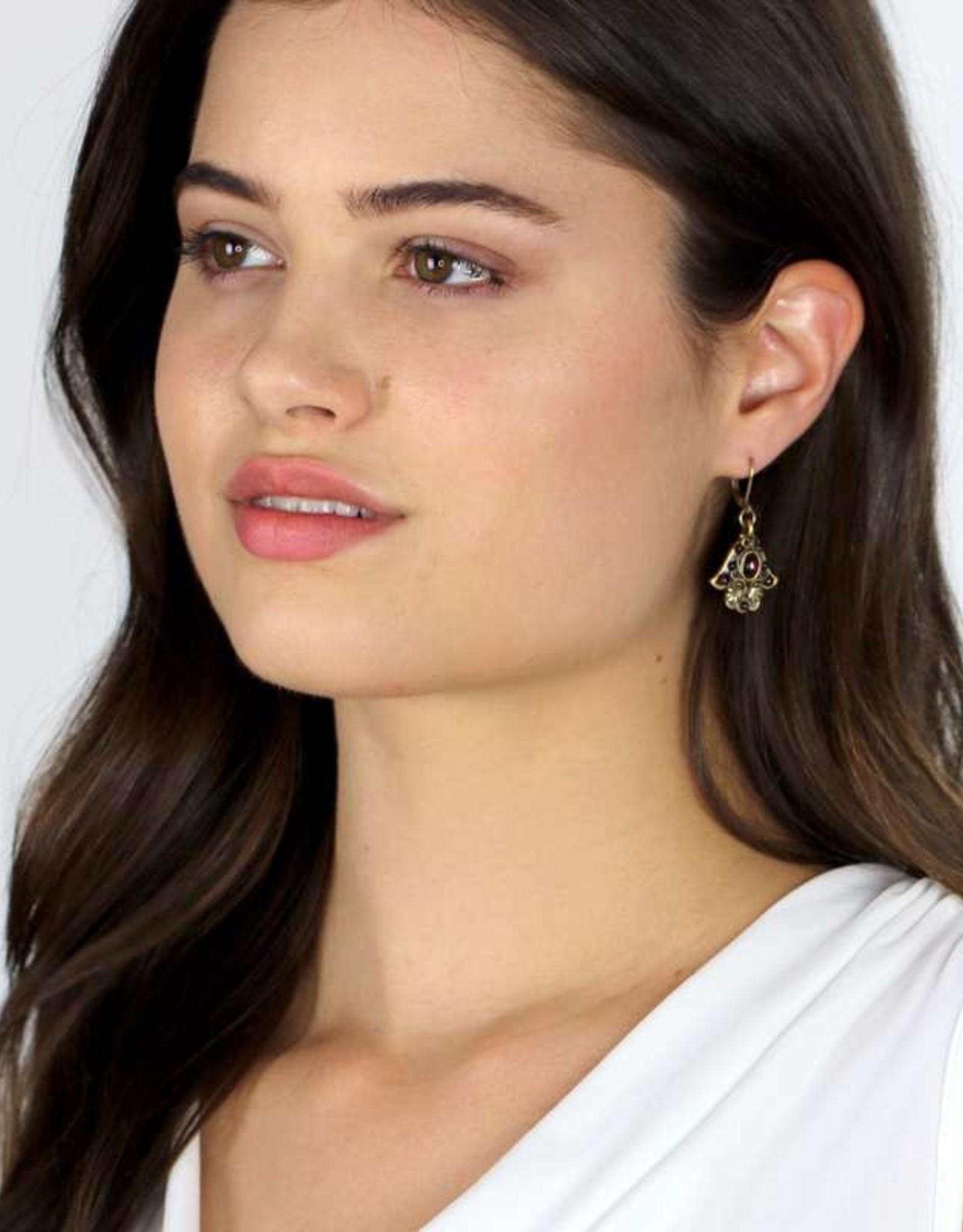 Earrings, Hamsa w/garnets