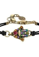 Bracelet, Hamsa w/multi crystals