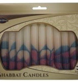 Candles, Safed Shabbat white/pink/aqua