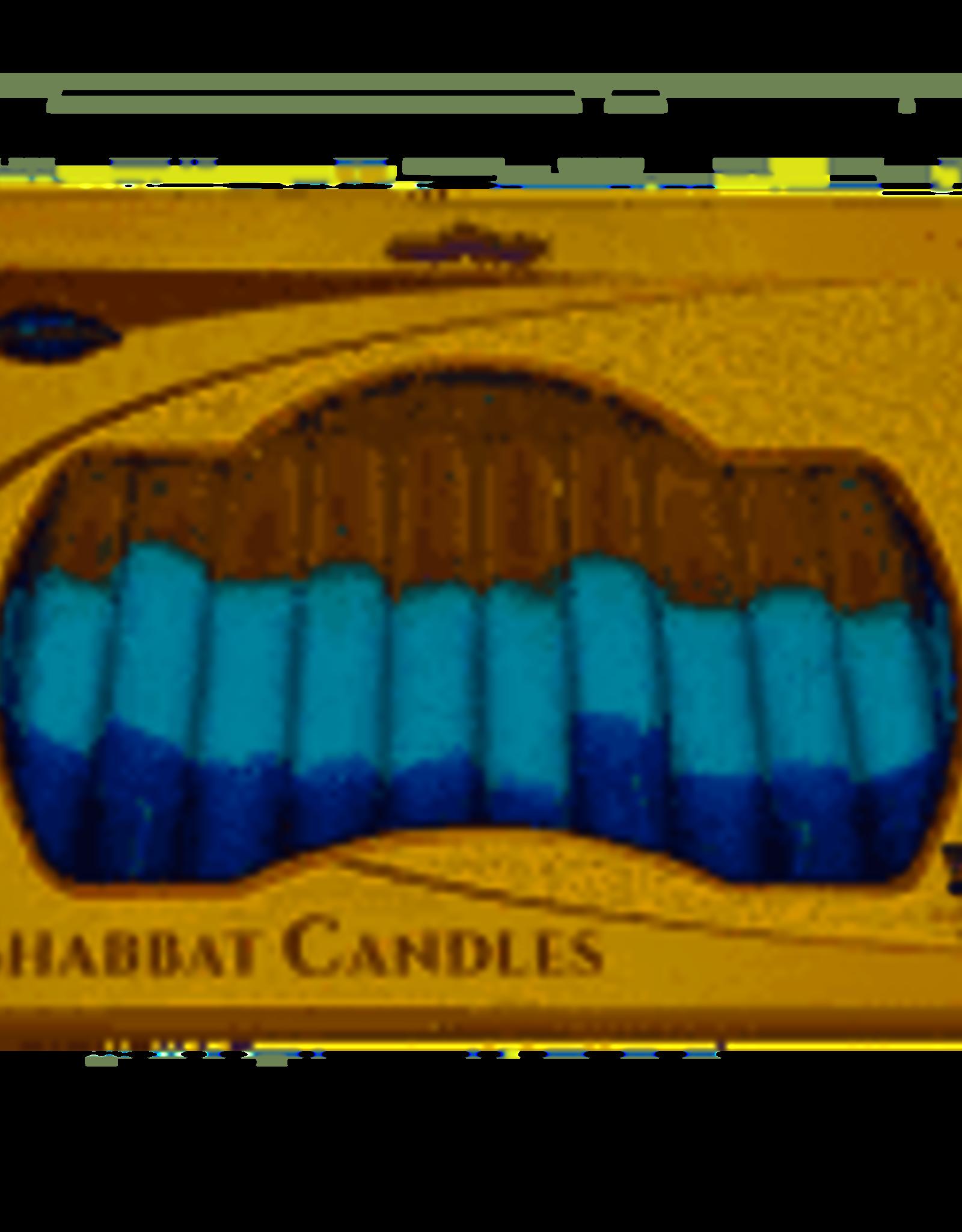 Candles, Safed Shabbat white/aqua/blue