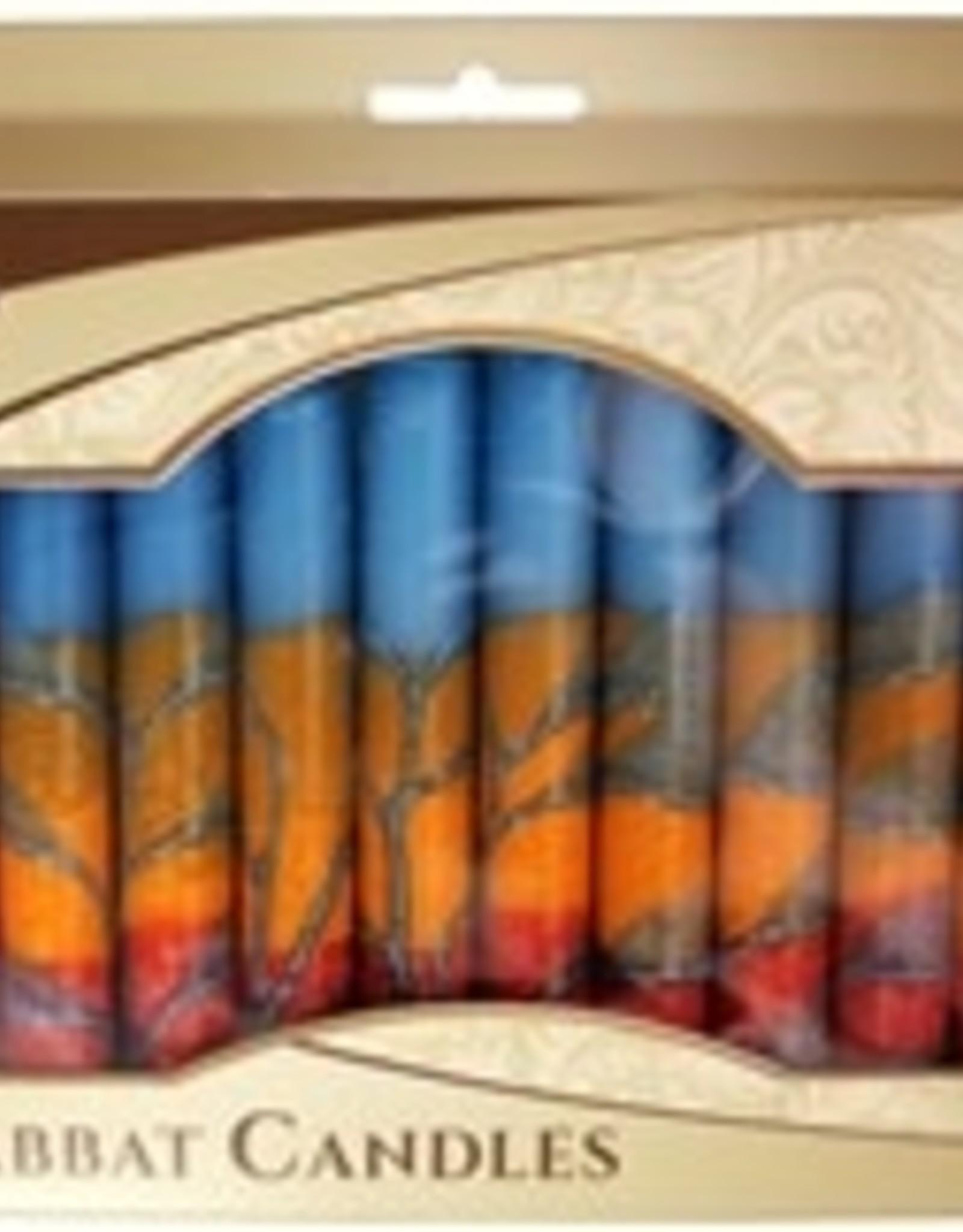 Candles, Safed Shabbat red/orange/blue