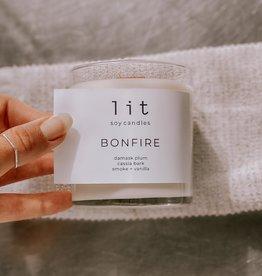 Lit Soy Candle, Bonfire