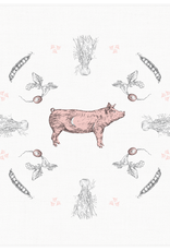Petits Mots Petits Mots Cotton Flour Sack Tea Towel, Pig&Peas