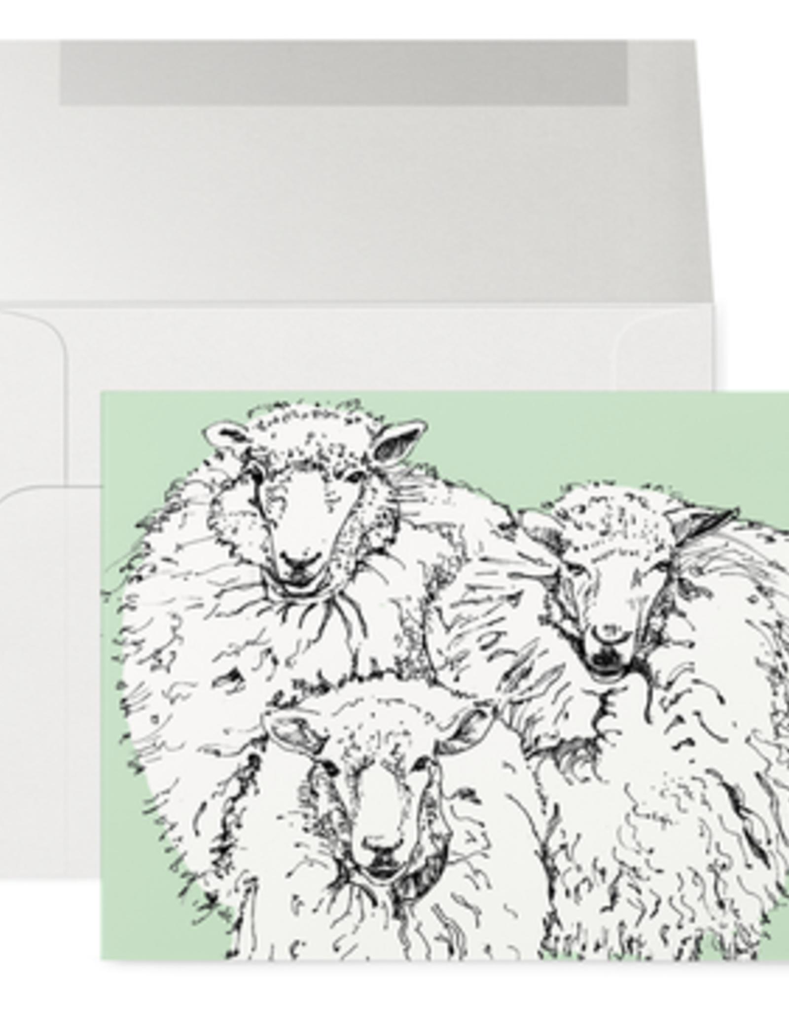 Petits Mots Petits Mots Card, Green Sheep