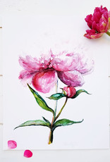 Coral Barclay Original Pink Peony Framed