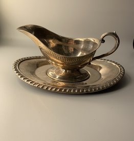 Silver gravy boat and plate