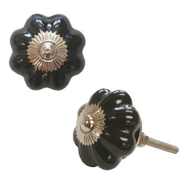 Door Knob, Ceramic Pumpkin, Black
