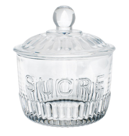 "Sugar Jar, ""Sucre"", Glass"