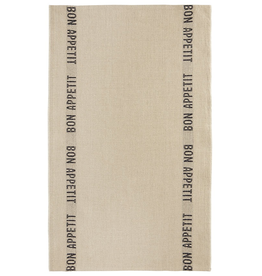 BON APPETIT Natural with Black Letters Linen Tea Towel