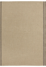 Tea Towel, Natural Two-Stripe, Black