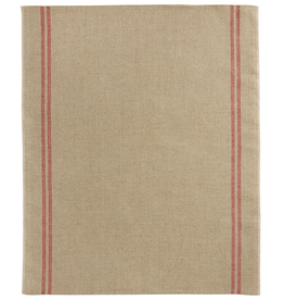 Country Natural with Red Stripe Washed Linen Tea Towel