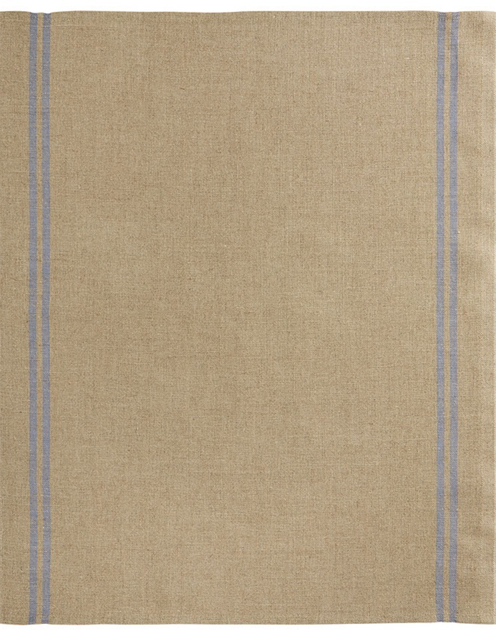 Tea Towel, Linen, Country Blue, Natural with Blue Stripe