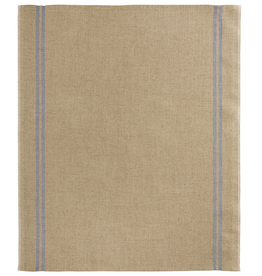 Country Natural with Blue Stripe Washed Linen Tea Towel