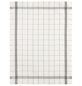 Bistro Black Grid Linen Tea Towel