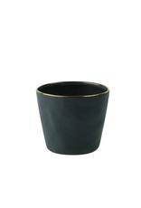 Tumbler, Stoneware, Slate/Gold Rim, Mini