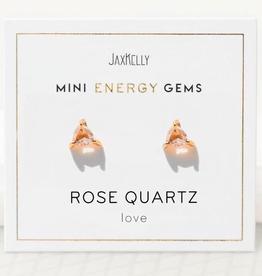 Earrings, MIni Energy Gem, Rose Quartz, Sterling Silver Base with18k Gold Plating
