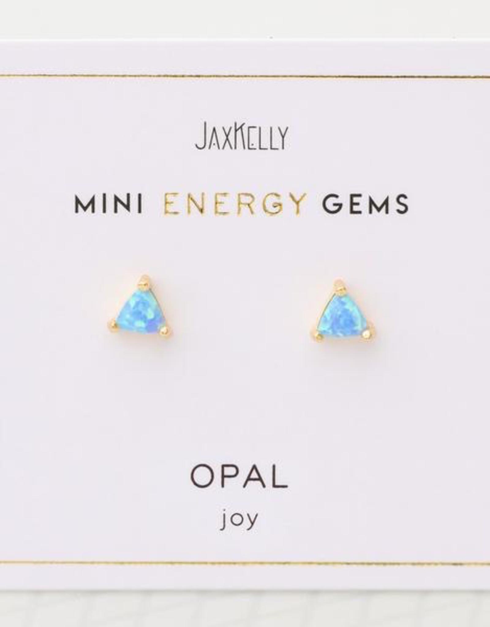 Earrings, Mini Energy Gem, Opal, Sterling Silver Base with18k Gold Plating