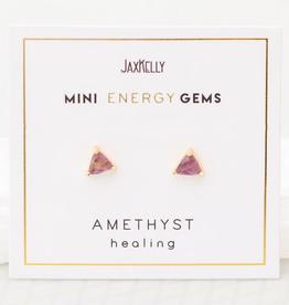 Earrings, Mini Energy Gem, Amethyst, Sterling Silver Base with18k Gold Plating