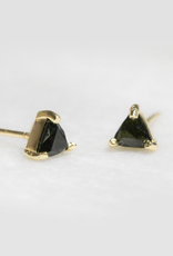 Earrings, Mini Energy Gem, Black Tourmaline, Sterling Silver Base with18k Gold Plating
