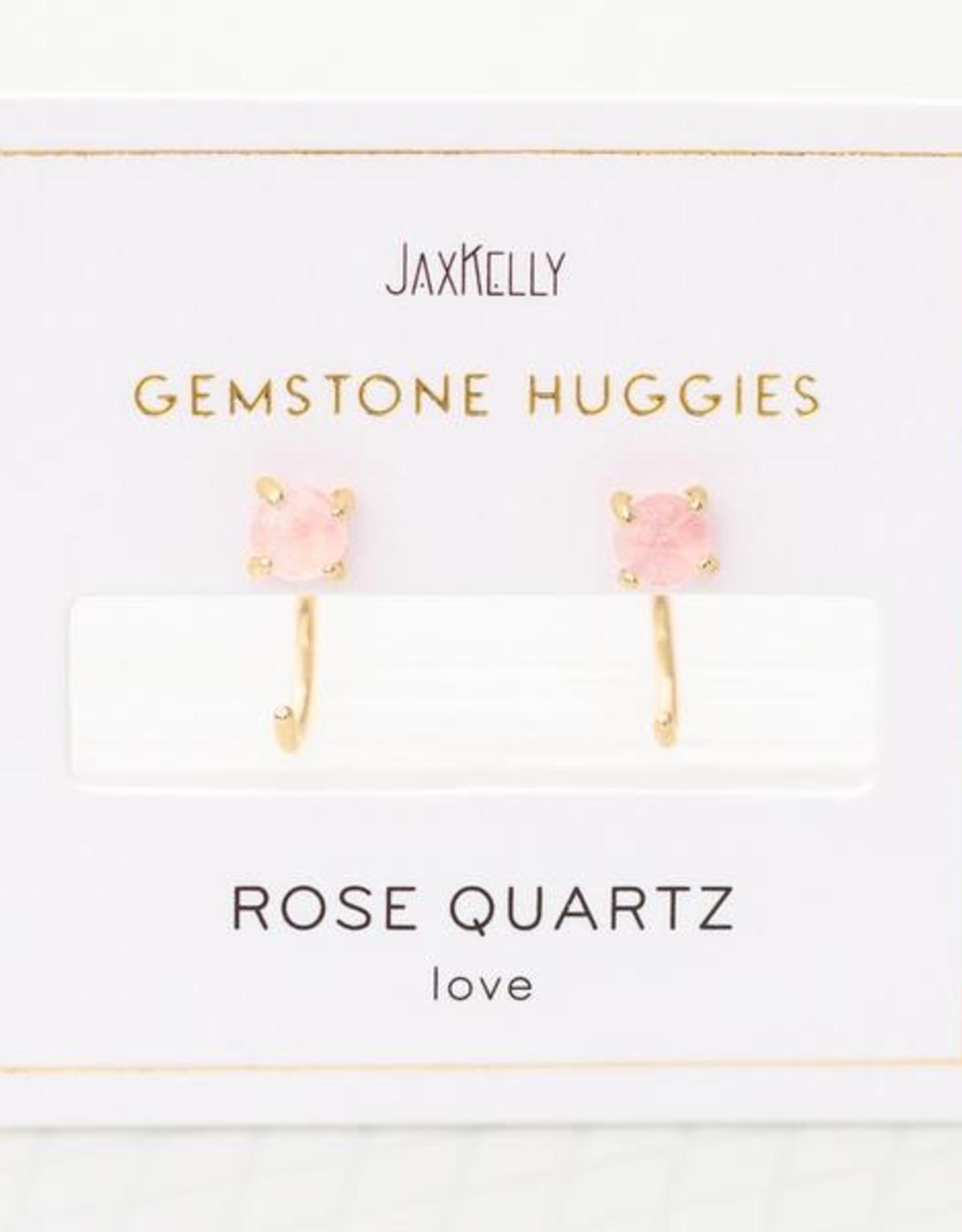 Earrings, Huggie, Rose Quartz, Sterling Silver Base with18k Gold Plating