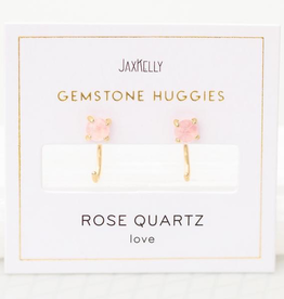 Earrings, Huggie, Rose Quartz, Sterling Silver Base with18k Gold Plating