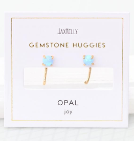 Opal Huggie Earrings Sterling Silver Base with18k Gold Plating