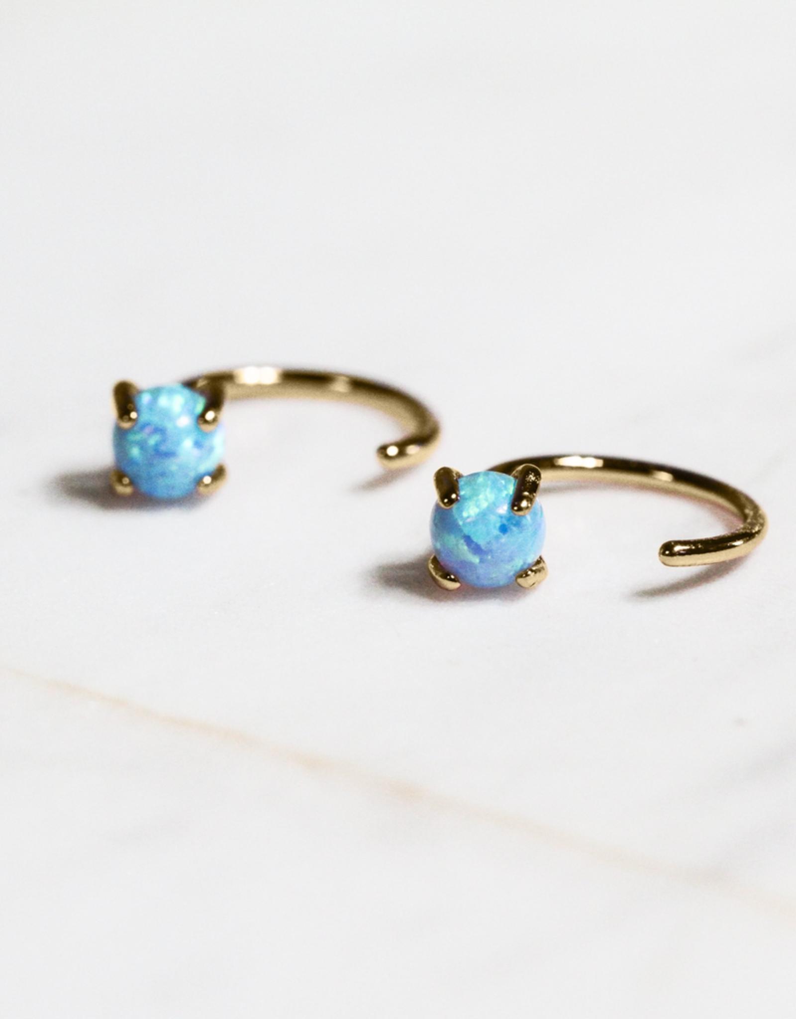 Earrings, Huggie, Opal, Sterling Silver Base with18k Gold Plating
