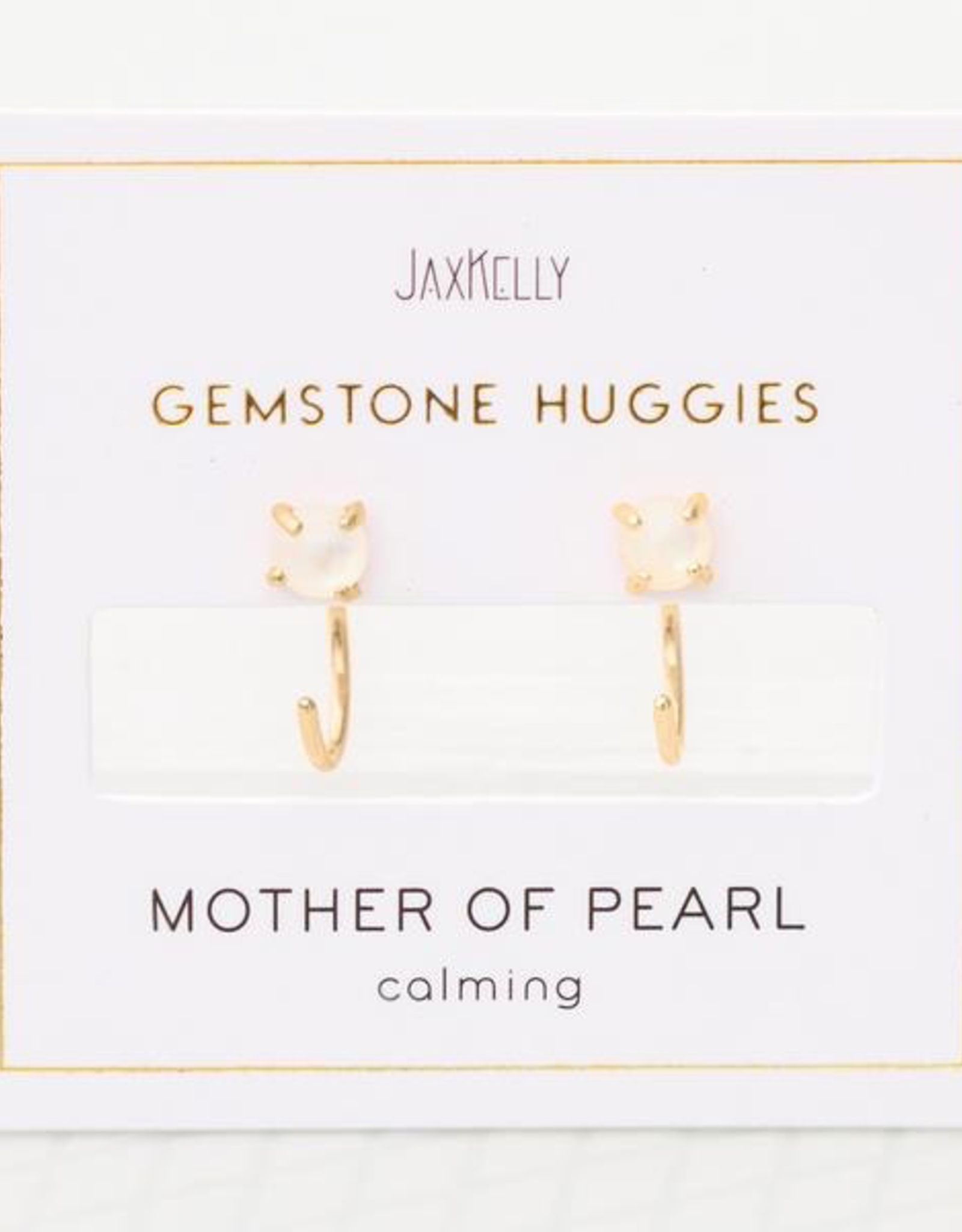 Earrings, Huggie, Mother of Pearl, Sterling Silver Base with18k Gold Plating
