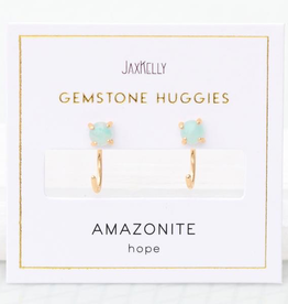 Amazonite Huggie Earrings Sterling Silver Base with18k Gold Plating