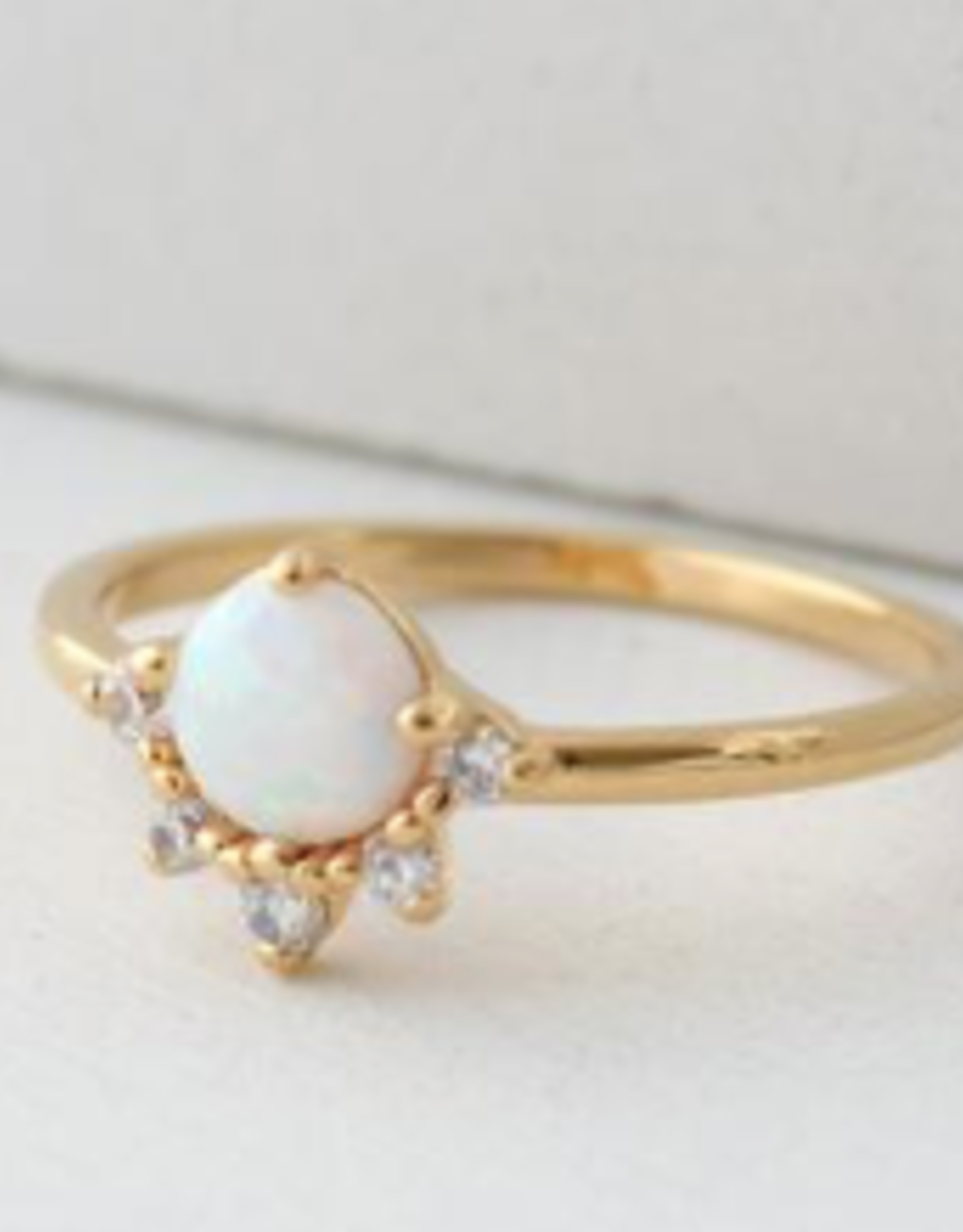Ring, Opal/Gold, Juno, Size 6 Gold-plated Brass, Cubic Zirconia, Simulated Opal